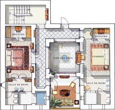 """نتيجة بحث الصور عن """"riad"""" """"floor plan"""" home interior garden House Layout Plans, Dream House Plans, House Layouts, House Floor Plans, The Plan, How To Plan, Living Room Floor Plans, Living Room Flooring, Morrocan House"""