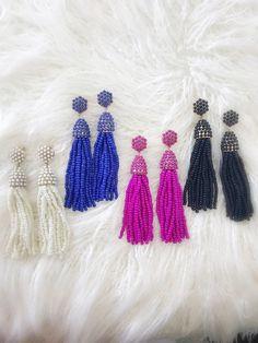 c932032e816361 19.99 Beaded Tassel Earrings {Black} Blue Tassel Earrings, Statement  Earrings, Pink Ocean. Ocean Bella Hawaii