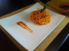 Pasta whit sword fish ragù. I made this plate in pasta Ghigo restaurant in via fabio massimo 46 - Rome. We arte waiting...