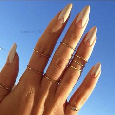 Stiletto nails with pyramid base (kinda long for my taste, but still pretty cool)