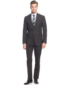 Kenneth Cole Reaction Charcoal Plaid Peak Lapel Slim-Fit Suit - Shop All Suits - Men - Macy's