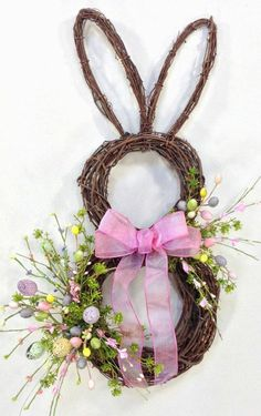 Bunny Wreath Easter Wreath Spring Wreath by CrookedTreeCreation Spring Crafts, Holiday Crafts, Easter Table Decorations, Easter Centerpiece, Easter Holidays, Diy Wreath, Door Wreaths, Wreath Ideas, Grapevine Wreath