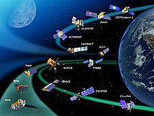 Satellites circle Earth