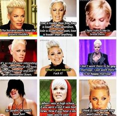 Pink has alot. Alecia Moore, Pink Quotes, Beth Moore, Female Singers, Celebs, Celebrities, Pink Fashion, Pink Hair, Celebrity Photos