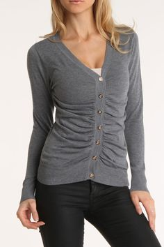Ruched Gray Lightweight Sweater - A Color that will go with Everything - Love Gray with Navy Blue or Red.