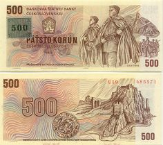 Czechoslovakia Korun banknotes for sale. Dealer of quality collectible world banknotes, fun notes and banknote accessories serving collectors around the world. Money For Nothing, World Coins, Coin Collecting, Childhood Memories, Vintage World Maps, Stamp, Czech Republic, European Countries, Socialism