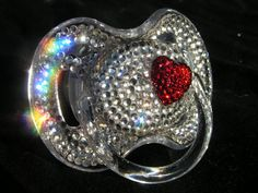 Diamond  with red heart Pacifier - oh my goodness...could you just imagine Baby Girl with this paci!!  Seriously, that is just too much!