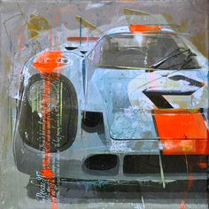 """A German artist with a passion for speed, Markus Haub captures iconic racing machines from the 1960's and 1970's through his own innovative perspective. His technique leads to works of art that make you think twice about what's hanging on your wall and what's sitting in your driveway.  How did the painting of your """"Racing Legends"""" series start?  I started to work in my special technique ten years ago. First on themes from movies with Milla Jovovich. """"The 5th Element"""""""