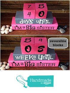 BIG SISTER COUNTDOWN! Reversible and interactive wood word stacking block set for the new big sister for playroom, nursery, bedroom decor... from BLOCK PARTY http://smile.amazon.com/dp/B01675XQZ2/ref=hnd_sw_r_pi_dp_9pZfwb14V90B5 #handmadeatamazon