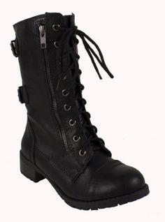 Dome! By Soda Military-style Lace-up Combat Boots in Black Soda