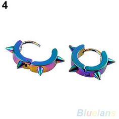 Titanium Steel Ear Studs Spike Hoop Huggie Piercing Unisex Earrings