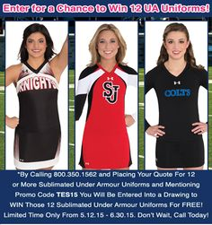 TIME IS RUNNING OUT! Enter for your chance to win 12 FREE Under Armour uniforms!  Don't wait, call 800.350.1562 and place a quote today!  #Cheer #Cheerleading #UnderArmour #Win #Uniforms