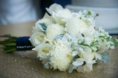 Elegant wedding bouquet idea - white roses, anemones, stock, chrysanthemums, and dusty miller  {The Decisive Moment Wedding Photojournalism}