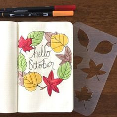 Add fall art to your bujo - even if you can't draw. Get your stencil over here. #bulletjournal #moxiedori Bullet Journal Stencils, Bullet Journal Font, Bullet Journal Tracker, Bullet Journal Hacks, Bullet Journal Printables, Bullet Journal Spread, Bullet Journals, Autumn Bullet Journal, December Bullet Journal