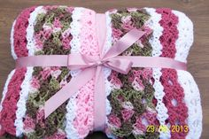 Girl's PINK CAMO AFGHAN  Twinsize for your little by BzyBeeKrafts, $75.00