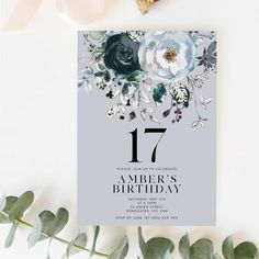 image 0 Happy Birthday Yard Signs, Forty Birthday, 17th Birthday, Gold Birthday, Teen Birthday, Birthday Template, Floral Printables, Printable Birthday Invitations, Party Poster