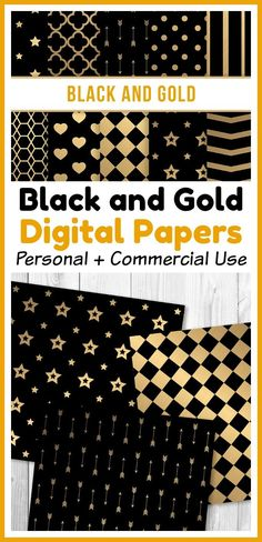 Black and gold digital paper patterns for personal and commercial use! These would be perfect in projects related to weddings, parties, and New Year's celebrations! | printable scrapbook paper, scrapbooking, shiny paper, brushed gold, gold foil, New Year's Eve, DIY invitations, background, TPT, Teachers Pay Teachers, #digitalPaper