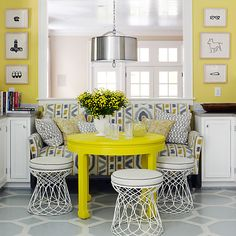 Multiple shades of this cheery hue keep the room from swinging into matchy-matchy territory.