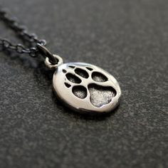 Tiny Wolf Track Necklace in Sterling Silver Wolf Paw Track Pendant Necklace Charm 167