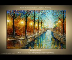 Oil Painting on canvas Bridge by Nizamas park art Oil Acrylics Canvas Wood Stretchers ready to hang art Abstract Painting Bright Wall Art On Canvas By Paula Nizamas - Colorful Night in the Park Acrylic Canvas, Oil Painting On Canvas, Canvas Art, Abstract Landscape Painting, Landscape Paintings, Abstract Art, Art In The Park, Park Art, Ship Paintings