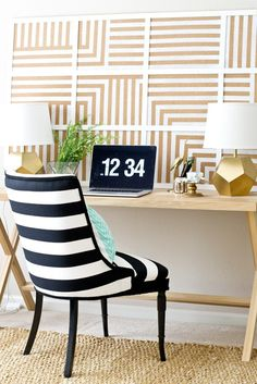DIY cork board made from placemats with spray painted stripe pattern