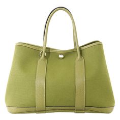 Hermes - Hermes Garden Party TPM Canvas Leather Green Tote Bag ❤ liked on Polyvore