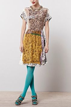 Flower Field Dress | Anthropologie . Not digging the open toe shoe with it though.