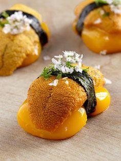 Liquid Mango Nigiri with sea urchin, shiso and pickled sansho pepper. Sushi Recipes, Gourmet Recipes, Sea Urchin, Best Dishes, Molecular Gastronomy, Gastronomy Food, Food Plating, Japanese Food, Street Food