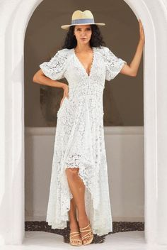 This Boston Proper Lace Maxi Dress elevates casual-luxe style and ultra femininity in an exquisite lace fabrication. It is the perfect dress for so many occasions . . . Wedding Guest Dress, Vacation Outfit, Resort Outfit, Cruise Outfit, Brunch Outfit, Graduation Dress, Date Night Outfit . . . such a great summer outfit idea for heading out of town! Available in pink and white. | White Maxi Dress | Boston Proper Dresses | Boston Proper Clothing | Hi Lo Maxi Dress | #BostonProper Classy Wedding Guest Dresses, Wedding Rehearsal Dress, Summer Fashion Outfits, Summer Dresses For Women, Fashion Line, Boho Fashion, Sexy Dresses, Dress Outfits, White Lace Maxi Dress