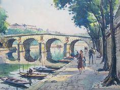 Original Signed Vintage Andre Krafft River Seine Paris Watercolor ...