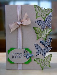Yes, ANOTHER butterfly card, but I just LOVE the way they are used as border! Julies Japes - An Independent Stampin Up! Demonstrator in the UK: Fancy Butterfly card Handmade Greetings, Greeting Cards Handmade, Making Greeting Cards, Beautiful Handmade Cards, Butterfly Cards, Butterfly Birthday Cards, Stamping Up Cards, Cards For Friends, Pretty Cards