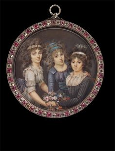 François Dumont    Three Ladies with Flower Basket    approx.1792