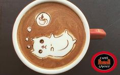 When you work in a coffee shop, you usually make the same latte art — rosettas and hearts. One day a friend started drawing bears and frogs on hot chocolate. She convinced me to give it a try, so I tried drawing a bear. Coffee Is Life, Coffee Love, Coffee Shop, Coffee Cups, Latte Art, Nespresso, Café Espresso, Coffee Artwork, Mediums Of Art