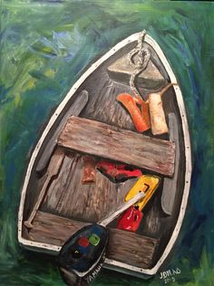 """Dinghy"" an original acrylic on canvas. This painting was painted with my left hand - my non dominate hand. An original by JDilno Dinghy, Acrylic Painting Canvas, Original Artwork, The Originals, Design, Paintings On Canvas, Idea Paint, Jon Boat, Boat"