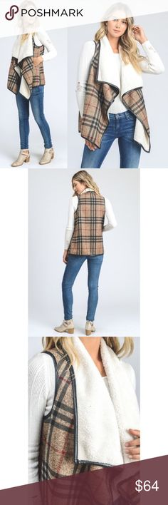 🆕 Brown Plaid Fur Trim & Lining Pocket Vest New with tags. Beautiful brown plaid vest with faux fur trim and lining. Perfect layering piece this fall and winter to keep you warm and cozy. Women's sizing.                                                                  🌸96% polyester, 4% spandex.                                                         ❌SORRY, NO TRADES. The O Boutique Jackets & Coats Vests