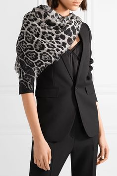 Saint Laurent - Leopard-print Cashmere And Silk-blend Scarf - Gray All Black Suit, Wardrobe Staples, Saint Laurent, Cashmere, Ruffle Blouse, Silk, Outfits, Tops, Women