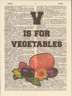 V is for Vegetables Vintage Upcycled Book by StorybookArtPrints