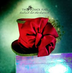 Fuschia top hat, hot pink and gold mini top hat, holiday headpiece, hair bow headband