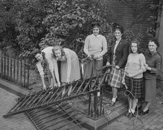 Girls Collecting Scrap Iron For War