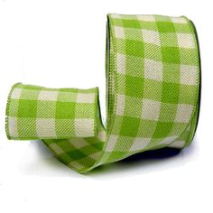 "Faux Burlap Ribbon 4"" x 25 yards Color: Spring Green Cream Check Material: 100% Polyester Wire Edge     www.trendytree.com"