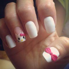 Gel polish#Hello kitty#3D bows nails art @ Ocean Nails and Spa, FWB, Fl.