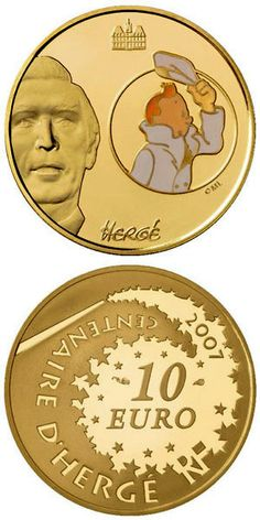N♡T.10 euro: Tintin.Country:France  Mintage year:2006 Face value:10 euro Diameter:22.00 mm Weight:8.45 g Alloy:Gold Quality:Proof Mintage:1,000 pc proof