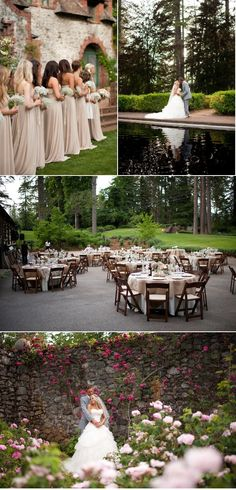 nude colored bridesmaids with baby's breath bouquets...burlap tablecloths & lace runners.
