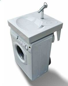 Space saving washbasin, flat bathroom sink fits above washing machine. Recycle water to washing machine?