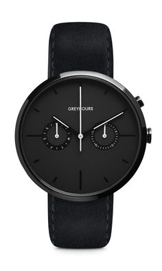 A round 40 mm diameter DLC-coated stainless steel case with a polished finish. The watch has a black face that absorbs light by the use of a fine grained s...