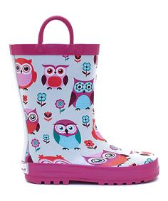 Take a look at this Timbee Pink Owl Rain Boot today!