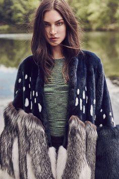 Jacquelyn Jablonski wears Prabal Gurung fur coat over M Missoni sweater for Vogue Magazine Mexico October 2016 issue
