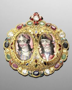 Persia | gem-set gold filigree Pendant containing two Qajar enamelled Portrait Medallions | 19th century or later | 3'600£ ~ sold (Oct '09)