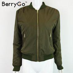 BerryGo Winter parkas Army Green bomber jacket Women coat cool basic down jacket Padded