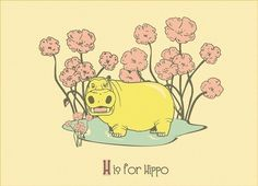 H is for Hippo, Alphabet Print - hand screenprinted. $16